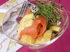 Receta | Patatas con salmón ahumado y mahonesa de mostaza al eneldo - canalcocina.es