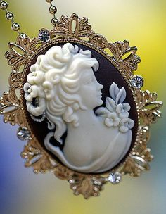 Flowers & Long Haired Victorian Lady Cameo Pendant