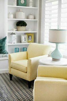 pastel yellow armchairs