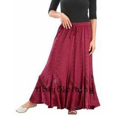 Ruby Red Isabella Mega Flared Renaissance Gypsy Boho Medieval Full Skirt - Burgundy - Shop by Color - Skirts