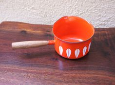 Vintage Cathrineholm Butter Warmer Orange with white lotus design, teak handle, and pouring spout Lotus Design, White Lotus, Mid Century Modern Design, Warm Colors, Teak, Butter, Handle, Design Ideas, Orange