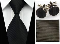 BY0031 Black Solid Stripe Necktie Men s Tie Cufflinks Hanky Handkerchief Set