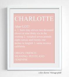 Dictionary Style Baby Name Print - Custom Personalized Nursery Wall Decor
