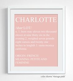 Dictionary Style Baby Name Print - Custom Personalized Nursery Wall Decor