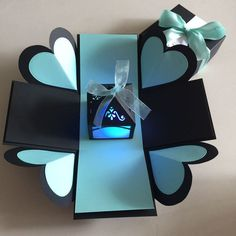 DIY Explosion Box With Lighthouse In Black & Tiffany