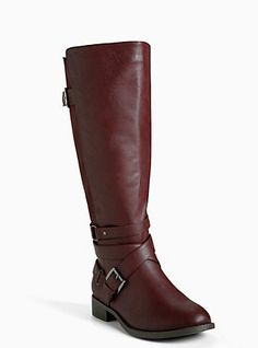 Multi Metal Strap Tall Boots (Wide Width & Wide Calf), OXBLOOD