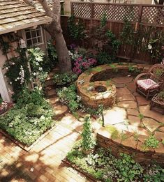 Flagstone and stacked stone wall, moss, aged brick walkway.  Circular pattern with a small fountain makes the sound of running water, with lots of seating if you tucked a moveable fire pit in the center !!!