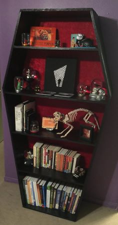 This listing is for your coffin bookshelf with red Fabric and Black paint Coffin Bookshelf dimensions are about Tall X Wide Order custom fabric and size is available (price changes with size) Pick up in Long Beach California is free Goth Bedroom, Room Ideas Bedroom, Bedroom Decor, Dark Home Decor, Goth Home Decor, Gothic Room, Gothic House, Horror Room, Halloween Bedroom