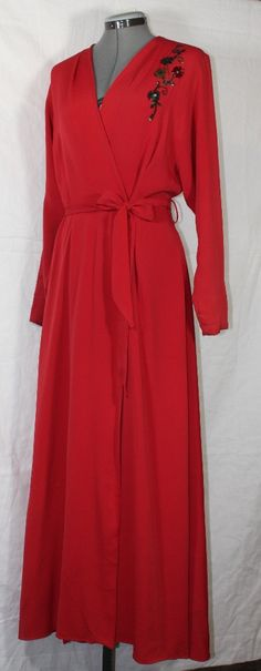 Vintage Women's Dressing Gown Bright Red with by ilovevintagestuff