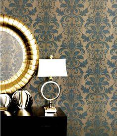 Vintage Damask Galerie wallpaperG34117 #teal #gold #bedroomideas #bedroom #homedecorideas #damask