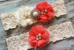Ivory and Coral Wedding Garter, CUSTOMIZE IT, Bridal Garter Set, Lace Garter Set, Toss Garter Included, Rustic Garter