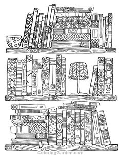Free printable bookshelf adult coloring page. Download it in PDF format at http://coloringgarden.com/download/bookshelf-coloring-page/