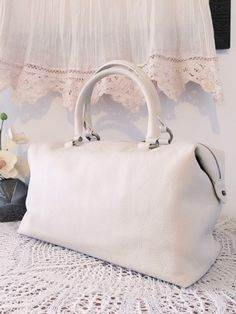 Cream leather bag, Casual satchel, Leather tote bag, Women purse, Elegant design, Gift for women