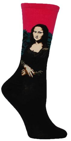 Crew length socks featuring Leonardo da Vinci's famous painting of Mona Lisa -- available in Leaf, Lavender, and Bright Pink. Fits women's shoe size 5-10.