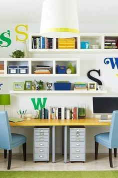 The most important part when setting up a homeschool room is a dedicated space. Although school looks different this year our homeschool room ideas will make it fun. Keep reading as we share 10 homeschool room ideas that will help your children thrive while learning at home. Hadley Court Interior Design Blog by Central Texas Interior Designer, Leslie Hendrix Wood. Office Interior Design, Office Interiors, Office Designs, Office Ideas, Desk Ideas, Room Ideas, Ikea, Diy Storage Under Bed, Log Home Designs