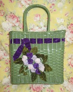 RARE VTG Wicker Basket Green Purple Lilac Purse Velvet Roses Flowers Spring Easter Mother's Day #EasterBasket (Also find at www.lechicdame.com)
