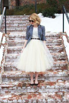tulle skirt, graphic t-shirt & metallic blazer via Poor Little It Girl