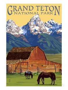 Grand Teton National Park - Barn and Mountains アートプリント