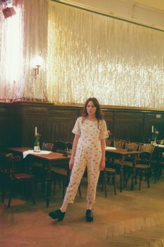 'Girl About Town: Berlin' featuring SS'15 collections by Photographer Miriam Marlene, Modelled by Aleksandra Malewicz - Model Wears Dinosaur Print Jumpsuit Multicolour www.thewhitepepper.com/collections/jumpsuits/products/dinosaur-print-jumpsuit-multicolour