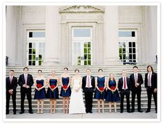 Navy with pop of red for the red (rose bouquets),white & blue motif ... very Navy