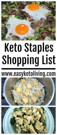 Keto Staples Shopping List - A List of Low Carb items that are essential for success with a Ketogenic Diet.Including a list of fats, proteins and carbs.