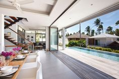 Inasia Beach Villa is an elegant contemporary Thai retreat with a panoramic vision over the Five Island beach. Inasia Beach Villa is in Lipa Noi, Koh Samui. Villa Design, House Design, Cabin Design, Koh Samui Thailand, Beach Villa, Beach House, Luxury Villa Rentals, Elegant Homes, Luxurious Bedrooms