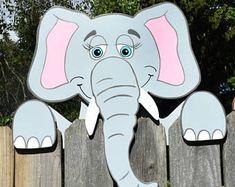 Olifant hek Peeker, olifant hek decoratie, buiten tuin kunst, olifant hek kunst, Zoo dieren Yard decoratie, hek Sitter