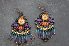 Beautiful bead embroidered earrings - Karin G