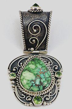 Pendant | Mona Van Riper. Sterling silver, peridot and Carico Lake Turquoise