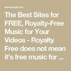 The Best Sites for FREE, Royalty-Free Music for Your Videos - Royalty Free does not mean it's free music for you to download and use as you like. It just means...