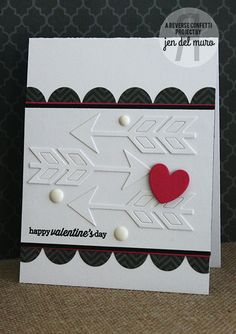 Valentine's Day Card in white and black WEDNESDAY IN THE WORKS | Reverse Confetti