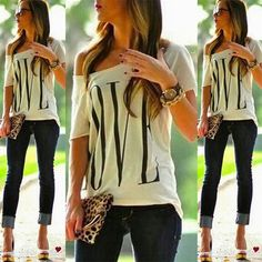Fashion Womens Summer Short Sleeve Loose T Shirt Casual Lover Tops Blouse White #UnbrandedGenenic #Blouse #Casual