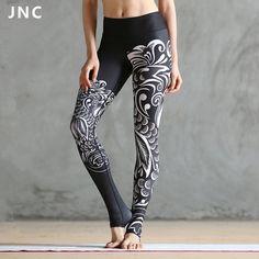 Jnc女性黒プリントployster yogaレギンス女神タイツ雲プリントyogaタイツアーティスト形状ワークアウトボトムス