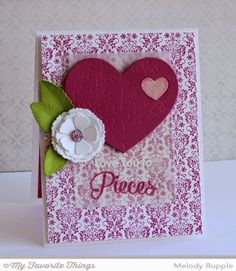 Damask Background, Smitten with You, Heart Puzzle Die-namics, Layered Rose Die-namics, Royal Leaves Die-namics - Melody Rupple #mftstamps