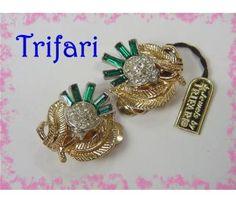 TRIFARI CROWN Costume Jewelry Rhinestone Vintage Original Hang Tag Never Worn ~ $48  www.FindMeTreasure.com