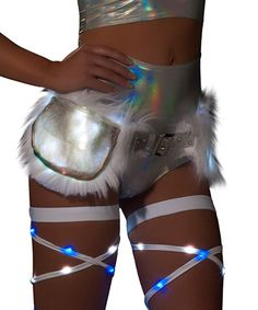 Furry White Sparkle Light-Up Satchel
