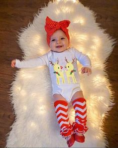 3af0e53c7ba0 Baby Girl Infant CHRISTMAS Outfit Bodysuit Ruffle Leg Warmers Clothes Set