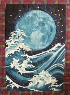 Wall Hanging  ORIENTAL MOON and the WAVES Quilted by SewNSewSister