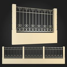 Fence 003 by ThemeREX High quality polygonal model of fence.max Max 2010 for separate models .max Max 2010 for the scene, wh House Fence Design, Wood Fence Design, Balcony Railing Design, Window Grill Design, Wrought Iron Beds, Wrought Iron Fences, Gate Designs Modern, Iron Garden Gates, House 3d Model
