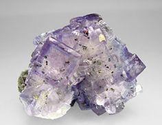 "Fluorite with Calcite and Pyrite, some Pyrite inclusions, and on a matrix with Calcite. Mina Jaimina, Caravia, Asturias  Spain (±1999)  Specimen size: 5.9 × 4.8 × 3.9 cm = 2.3"" × 1.9"" × 1.5"""