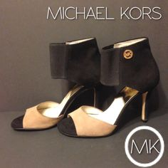 "Michael Kors Sivian Bootie Michael Kors open toe high heel bootie. Suede black and taupe, size 7, approx 3.5"" heels. In good condition. Fastening is elastic, gold MK logo on side. Michael Kors Shoes Ankle Boots & Booties"