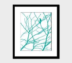 Bird and Branches Modern Wall Art Nursery Woodland Home Decor Art Print Blue Turquoise White. $17.00, via Etsy.