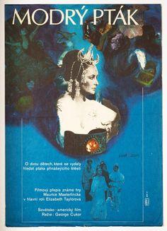 Movie poster design for The Blue Bird, kids adventure starring #ElizabethTaylor and #JaneFonda, 1977. #PosterDesign: Eva Heřmanská, Price: £38.00 #MoviePoster #Poster #Art #BlueBird #70sPosters