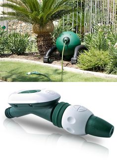"""RoboReel winds your hose in nice and neat automatically at the touch of a button.  RoboReel waterhose comes installed with a heavy-duty, """"NeverKink"""" hose that will not kink or go flat. The RoboReel comes with the Smart Nozzle Controller, with water on/off control and one-touch retraction. Rotates 360 degrees. The remote comes with a timer that allows the unit to fill your pool or water the garden on a regular schedule for up to a month before automatically shutting off the water and…"""