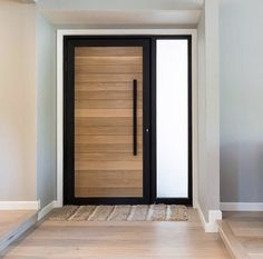 This classic look door is called our Statement White Oak door! The sidelight is acid etch, which gives you sunlight & privacy. We Ship Everywhere! Call us today for a quote Modern Entrance Door, Modern Exterior Doors, House Entrance, Entry Doors, Modern Front Door, Door Design Interior, Main Door Design, Front Door Design, Interior Doors