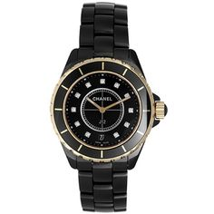 Pre-owned Chanel J12 H2544 Black Ceramic Quartz 38mm Unisex Watch ($7,648) ❤ liked on Polyvore featuring jewelry, watches, pre owned watches, preowned watches, black dial watches, pre owned jewelry and ceramic bezel watches