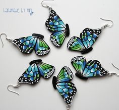 lovely handmade butterfly earrings made from polymer clay