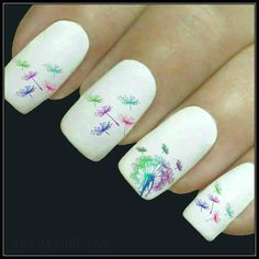 Flower Nail Decal Dandelion Nail Art 20 Water Slide Decals Fingernail Decals Nail Tattoos Nail Transfers