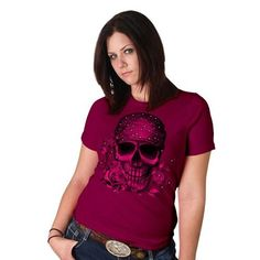 Skull Bandana Fuchsia Full Cut & Length Ladies Tee