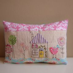 Cushion bird house applique embroidery